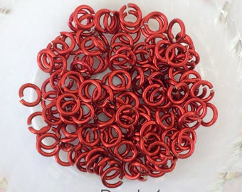 "18g 5/32 "" chainmaille saw cut red jump rings, red jump ring, DIY jewelry, chainmaille supplies, red jumprings, Tessa's chainmail"