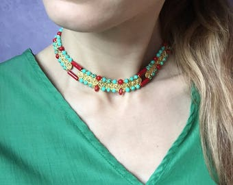 Jewellery set necklace and earrings turquoise/coral
