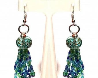 20% Discount Blue & Green Lamp Work Beaded Earrings