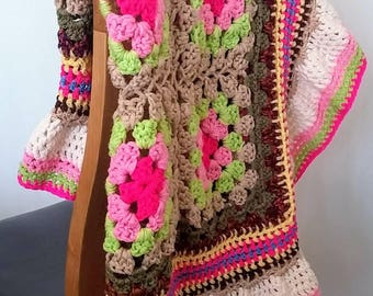 """Crochet throw with frill. Pinks, green, beige, inspired by hydrangeas. 38"""" x 38"""" . Double yarn for a chunky finish."""