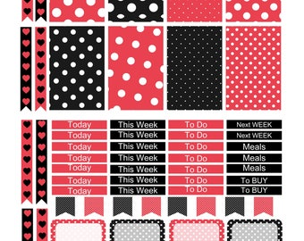 MINNIE MOUSE  Weekly Planner Sticker Kit/Printable's Happy Planner Classic Instant Download /