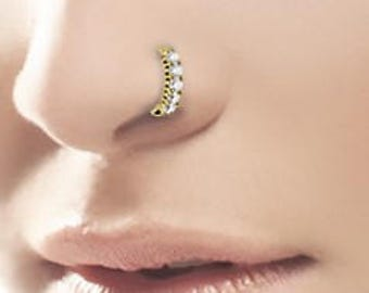 Beautiful Golden Surgical Steel Nose Ring Hoop with cz's 16g  8mm