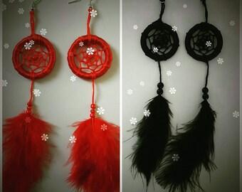Red dreamcatcher earrings