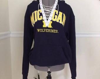 University of Michigan  Lace Up Hoodie