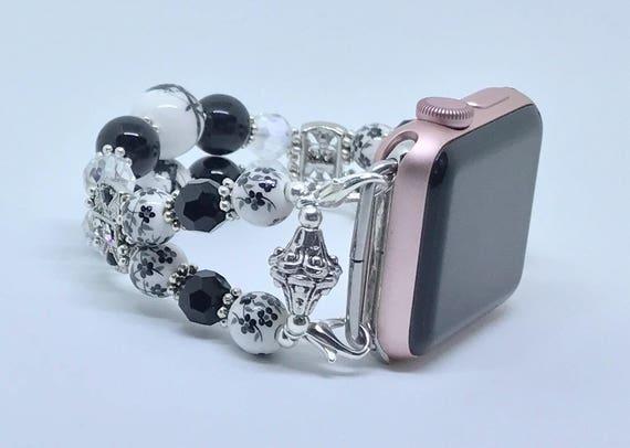 "Apple Watch Band, Women Bead Bracelet Watch Band, iWatch Strap, Apple Watch 38mm, Apple Watch 42mm, Floral Black, White Size 7"" to 7 1/4"""