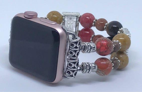 "Apple Watch Band, Women Bead Bracelet Watch Band, iWatch Strap, Apple Watch 38mm, Red Orange, Brown Sizes 7"" to 7 1/4"""