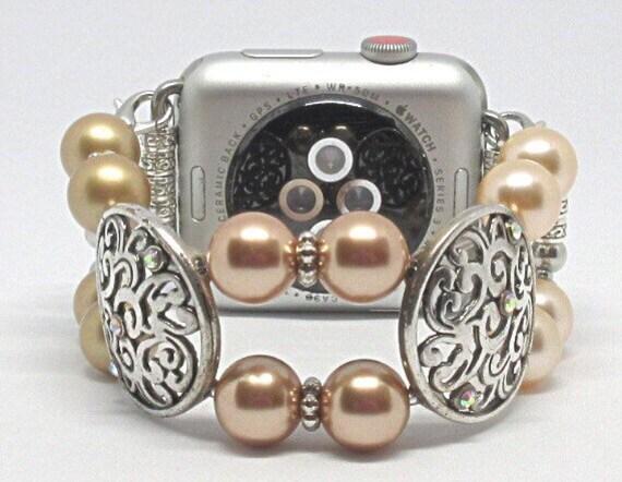 Rose Gold, Peach, Gold Pearl Size 6 1/4 - 6 1/2 Apple Watch Band, Women Bead Bracelet Watch Band, iWatch Strap, Apple Watch 38mm, 42mm