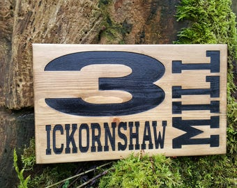Quirky Carved Wooden Address Plaque|House Sign|House Number