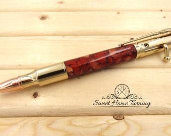 30 Caliber Bolt Action Rifle Pen  |  Copper & Gold Acrylic Bolt Action Pen  |  Rifle Bullet Pen