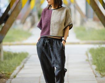 Handmade linen-cotton top/blouse