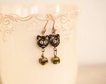 "Earrings ""Les Chats"" Czech glass beads"