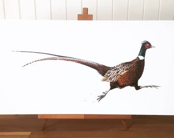 Running Pheasant - limited edition canvas print. Pheasant painting - Pheasant canvas - pheasant art.