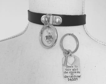 Daddy's Girl collar and Daddy/Dom keychain gift-DDLG/BDSM choker.