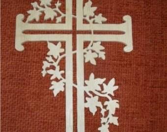 Wood cross wall decor, scroll saw fretwork