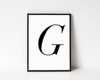 Scandinavian Printable Letter Print, Letter G, Black and White Typography Art