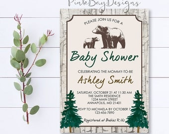 Bear Baby Shower Invitation, Woodland Baby Shower Invitation, Baby Shower Invitation, Rustic Baby Shower Invite, Baby Boy, Birch Tree Invite