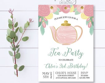 Tea Party Birthday Invitation, Floral Birthday Invitation, Pink Birthday Invitation, Tea Party, Gold Birthday Invitation