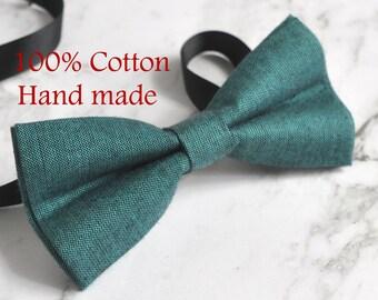 Unisex Men 100% Cotton Quality MATTE PEACOCK GREEN Handmade Bow Tie Bowtie Craft Wedding Party