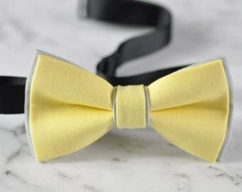 Men Women Baby Yellow and Grey 100% Cotton Hand Made Bowtie Bow Tie Wedding Party
