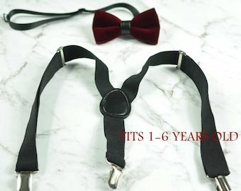 Boy Baby Kids Burgundy DARK RED Velvet Bow Tie Bowtie Black Suspenders Braces Sets 1-6 Years Old