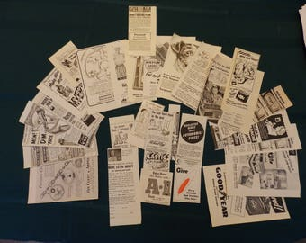 Vintage Magazine Ads 1951, 1955 s, Pack of 50, Ephemera, Collage, Mixed Media, Children's Crafts, Journal Pages