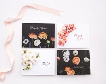 Black and White Floral Stationery Set