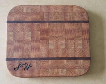 Red oak and black walnut end grain small cutting board
