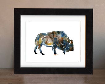 bison art print, bison, bison artwork, bison gift idea, bison art, bison decor, bison wall art, wildlife art, art print, saltwatercolors