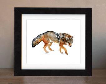 art, coyote, original, paintings, original art, gift, coyote painting, wall art, decor, spirit, totem, animal, wild, saltwatercolors