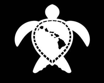 Hawaiian turtle car decal. Hawaiian islands on the turtle's shell. Turtle decal. Turtle sticker. Hawaii car decal. Hawaiian islands car deca