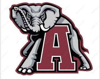 Alabama Crimson Tide svg Elephant svg Alabama svg football party Svg Eps Dxf Png Ai design Print Mug Shirt Decal