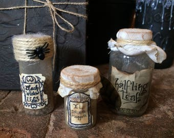 Lot of 3 halloween witch's small potion bottles