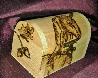 Wooden Trinket Box Pyrography Unicorn