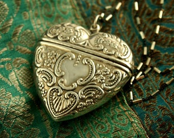 Heart Locket Necklace - Repousse Locket - Front Opening - Sterling Silver Locket - Vintage Locket - Wedding Locket