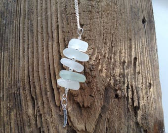 Ibiza sea glass stack with sterling silver beads and feather charm.