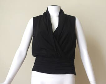 ARMANI black silk cowle neck blouse top Sz S-M