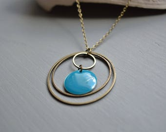 Graphic Blue mid-length necklace round bronze metal and enamel sequin