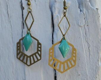 """Long earrings turquoise blue """"Aztec"""""""