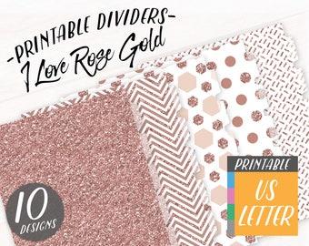 DIY Planner Printable Divider, Rose Gold Glitter Letter Size Planner Binder Tabs, Monthly Dividers A4, 8.5x11 Planner Dashboard Journal Tabs