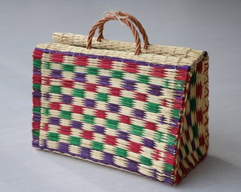 Portuguese Reed Bag, straw basket, summer basket, market bag, shopping basket, bolsa de mercado, sac de paille, Strohsack, cesta portuguesa.