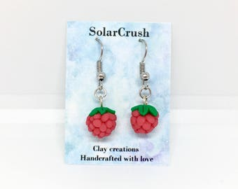 Clay Raspberry Earrings - Polymer Clay Fruit Jewelry - Handcrafted Clay Berries - Handmade Clay Earrings - Colorful Summer Jewelry