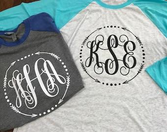 Monogram Raglan Tee - Monogram Shirt - Women's Monogram Tee - Baseball Tee - Women's Raglan Shirt - Women's Shirts