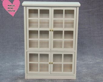 Dolls House Miniature White Bookcase