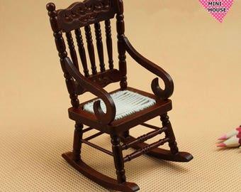 Dolls House Miniature Black Rocking Chair