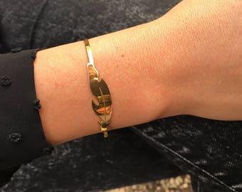 """Thin bracelet bangle gold """"feather"""""""