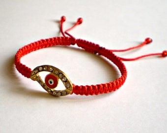 Red String Kabbalah Bracelet Red bracelet, Charm, Charm Bracelet, Bracelet with eye, Charm Eye, Friendship Bracelet, Macrame bracelet
