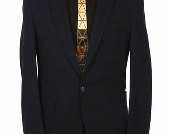 Dapper Tie Gold/Silver/Black Spider Cross Style ( Suit Accessories - hex NeckTie , Neck Tie Modern Geometric Unique Honeycomb Hexagon groom)