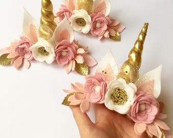 Unicorn headband, unicorn flower crown, unicorn headpiece, unicorn headband baby, unicorn headband party, unicorn birthday accessories