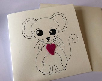 Mouse card // Mouse Mother's Day card // Mouse anniversary card // Mouse birthday card // Mouse love card // Mice // Mouse kawaii