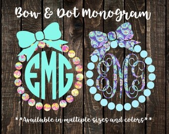 Bow and Dot with Monogram Decal, Bow Tumbler Decal, Bow Phone Decal, Bow Window Decal